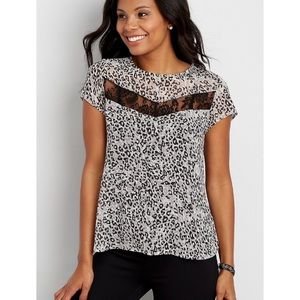 NWOT Maurices Chiffon Blouse Lace Inlay Leopard